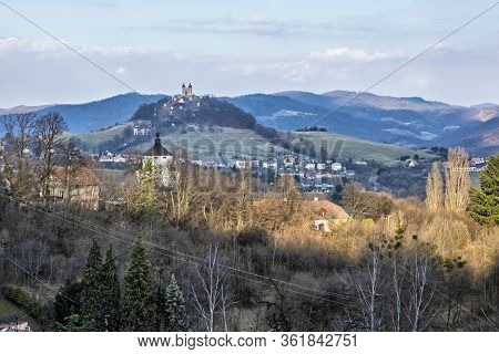 Calvary In Old Mining Town Banska Stiavnica, Slovak Republic. Religious Architecture. Travel Destina