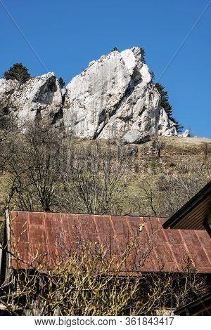 Vrsatske Rocks And Vrsatecke Podhradie Village, White Carpathian Mountains In Slovak Republic. Seaso