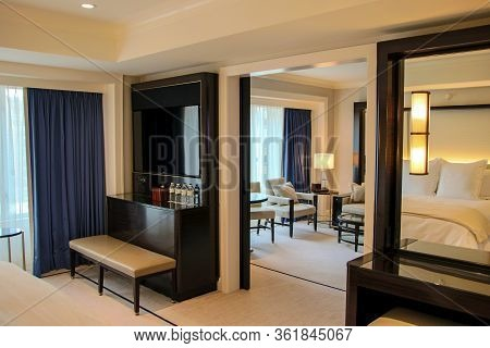 Chicago, Illinois, United States - Dec 12th, 2015: Deluxe Hotel Suite Interior