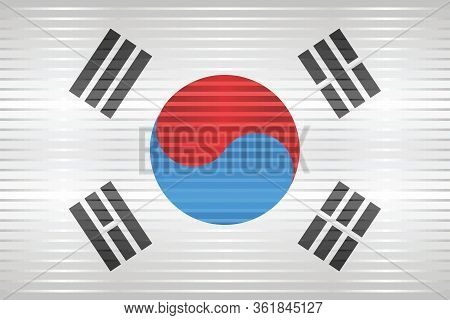 Shiny Grunge Flag Of The South Korea - Illustration,  Three Dimensional Flag Of South Korea