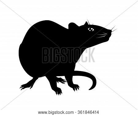 Rat - Vector Silhouette For Pictogram Or Logo. Silhouette Of A Wary Rat Sitting For A Sign Or Icon.