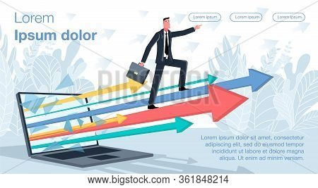 A Businessman In A Business Suit Is Standing On The Growing Graph Arrows Coming Out Of The Laptop Sc