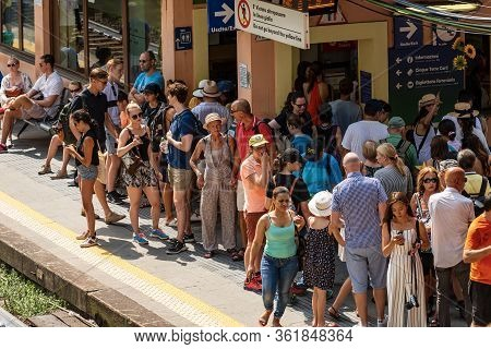 Vernazza, Liguria, Italy - July 22, 2019: The Vernazza Railway Station Crowded With Tourists On A Su