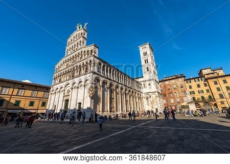 Lucca, Italy - April 16, 2017: Ancient Church Of San Michele In Foro, In Pisan, Romanesque And Gothi