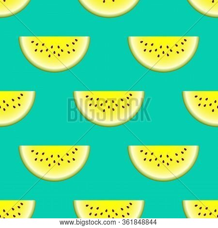 Vector Watermelon Seamless Pattern. Slice Of Watermelon On Turquoise Background. Colorful Vector Ill