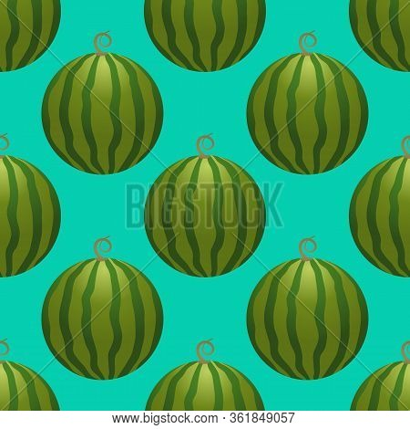 Vector Watermelon Seamless Pattern. Whole Watermelon On Turquoise Background. Colorful Vector Illust