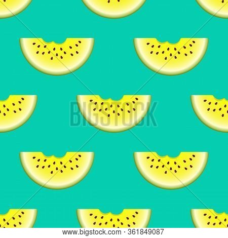 Vector Watermelon Seamless Pattern. Bitten Semicircle Slice Watermelon On Turquoise Background. Colo