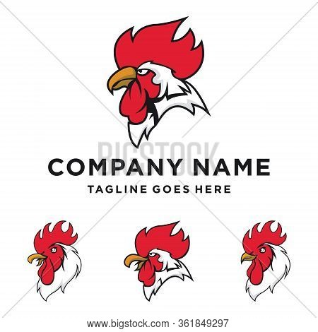 Original Sports Logo Template With Rooster Mascot.