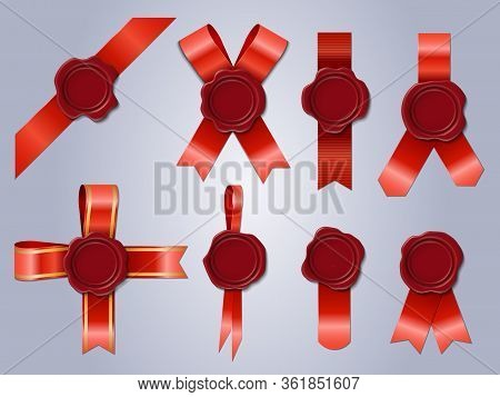 Wax Seal With Ribbon. Realistic 3d Stamp Red Festive Ribbons, Antique Postal Wax Stamps. Wax Seals I