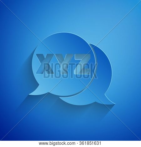 Paper Cut Xyz Coordinate System Icon Isolated On Blue Background. Xyz Axis For Graph Statistics Disp