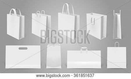 Realistic Shopping Bag. White Paper Empty Bags, 3d Modern Shopping Bag Mockup. Packaging Templates I