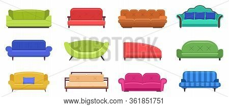 Couch Furniture. Comfortable Sofas, Apartment Interior Couch Furniture, Modern Domestic Couch Vector