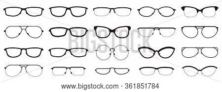 Glasses Frames. Eyewear Silhouettes, Glasses Frames, Optical Lens Frame, Hipster Spectacles. Fashion