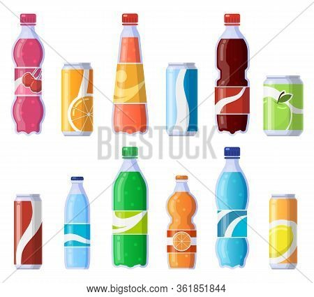 Soft Drink Cans And Bottles. Soda Bottled Drinks, Soft Fizzy Canned Drinks, Soda And Juice Beverages