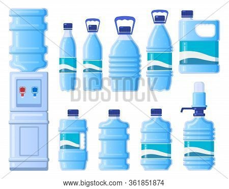 Plastic Water Bottles. Cooler Water Bottle Packaging, Plastic Bottled Liquid Beverage. Bottle Contai