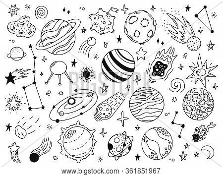 Space Doodles. Sketch Space Planets, Hand Drawn Celestial Bodies, Earth, Sun And Moon. Universe Spac