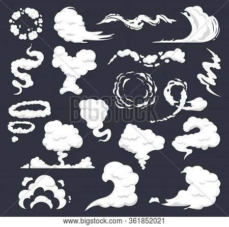 Cartoon Smoke. Comic Clouds, Steaming Smoke Flows, Steam Explosion Cloud. Dust, Smog And Smoke Cloud
