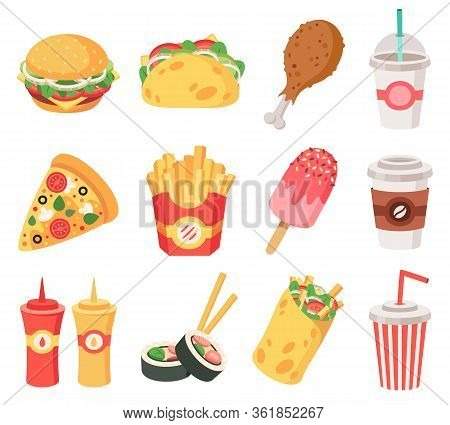 Junk Street Food. Fast Food, Doodle Takeaway Food And Snacks, French Fries, Coffee, Pizza. High Calo