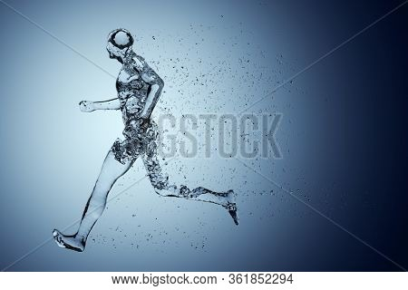 Human Body Shape Of A Running Man Filled With Blue Water On Blue Gradient Background - Sport Or Fitn