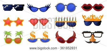 Funny Party Glasses. Carnival, Masquerade Sunglasses, Photo Booth Party Decorative Glasses Vector Il