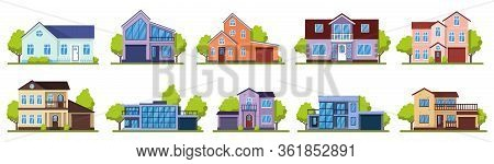 Suburban Houses. Living Real Estate House, Modern Country Villas. Home Facade, Street Architecture V