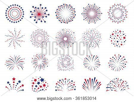 Fireworks 4th July. Celebration Festival Firecracker, Party Firework Explosion, Carnival Firework Ex