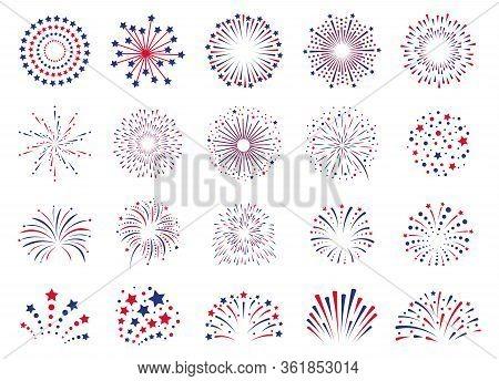 Fireworks 4th July. Celebration Festival Firecracker, Party Firework Explosion, Carnival Firework Ex