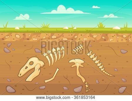 Cartoon Reptile Bones Ground. Archeology Buried Bones Game Underground, Dinosaur Skeleton In Soil La