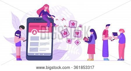 Influencer Attract Likes. Blogger Use Big Magnet Attracts Likes, Rating And Followers. Social Media