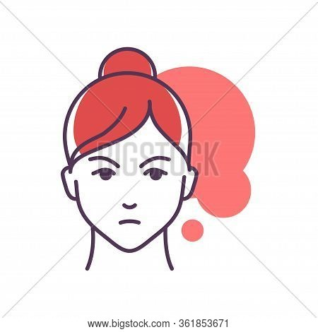 Human Feeling Envy Line Color Icon. Face Of A Young Girl Depicting Emotion Sketch Element. Cute Char