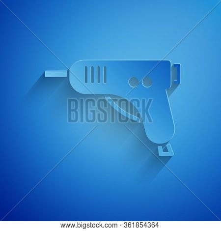 Paper Cut Electric Hot Glue Gun Icon Isolated On Blue Background. Hot Pistol Glue. Hot Repair Work A