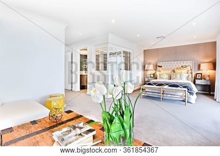 Modern Living Room And Bedroom With A Hallway To The Inside Of The House With A Room Partition, Ther