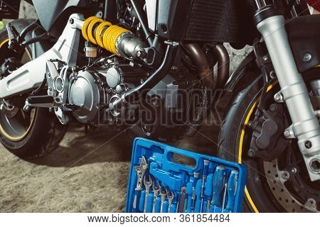 Motorbike, Motorcycle Before Maintenance, Repairing Equipment For Repair The Motorbike, Service Cent