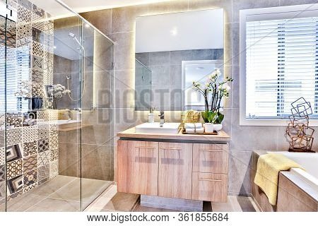 Luxury Bathroom With A Washing Area And Shower Beside A Mirror And Fancy Flowering Plant With Blanke
