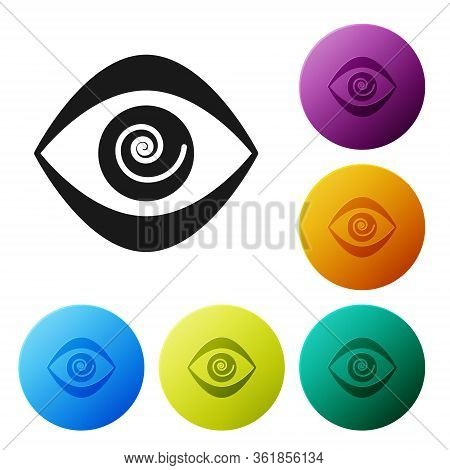Black Hypnosis Icon Isolated On White Background. Human Eye With Spiral Hypnotic Iris. Set Icons In