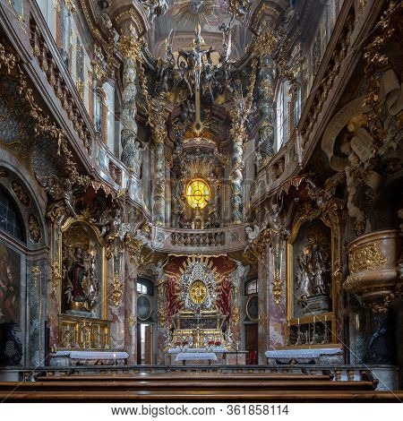 Feb 2, 2020 - Munich, Germany: Front Facade Of Altar Of Baroque Church Asamkirche