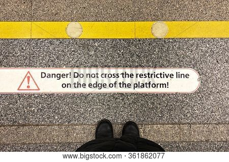 Limit Line On The Platform In The Metro With The Project Danger Do Not Cross The Restrictive Line On