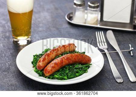 salsiccia e cime di rapa, sausage and braised tunip greens, southern italian cuisine