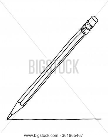 Graphite Pencil With Eraser Making A Stroke. Stationery Hand Drawn Vector Doodle Drawing. Vector Bla