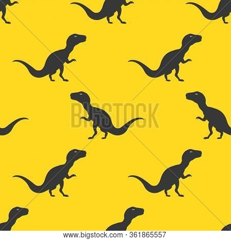 Silhouette Icon Dinosaurs Vector Seamless Pattern On Yellow Background Background Wallpaper