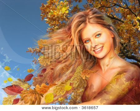 autumn woman collage on a sky background poster