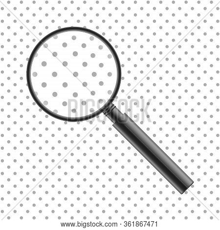Vector Realistic Magnifier. Isolated Gray Metal Magnifying Glass Enlarging Dot Pattern. Loupe Tool W