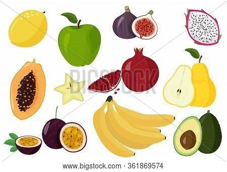 Fresh Fruits Vector Collection. Set Of Sweet Fruits. Lemon, Papaya, Dragon Fruit, Pomegranate, Passi