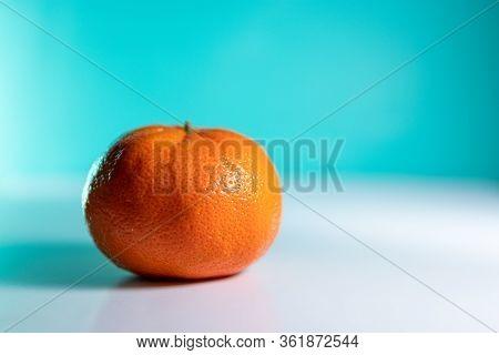 Contrasty Single Orange On A Blue Background.