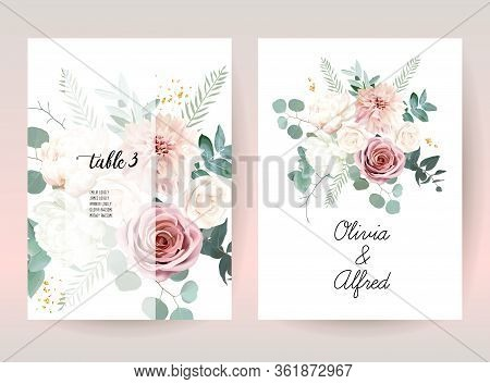 Silver Sage Green And Blush Pink Flowers Vector Design Frames. Beige And Dusty Rose, White Ivory Peo