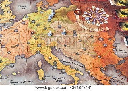 Moscow, Russia - March 7, 2020: Map With Figurines In The Fury Of Dracula Third Edition Adventure Bo