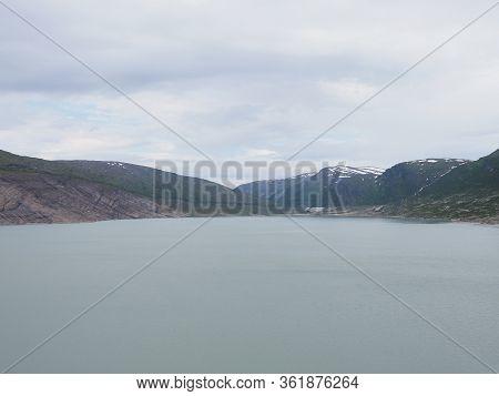Austerdalsvatnet Lake Landscapes Near European Svartisen Glacier In Nordland County In Norway, Cloud