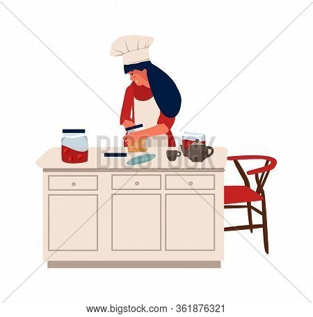 Woman With Hobbies. Girl Stands At The Table And Cooks. Vector Characters Cooking And Doing Hobbies