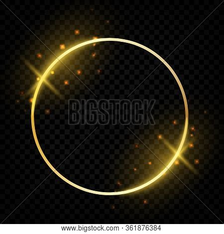 Circle Shiny Golden Frame. Glowing Round Border With Magic Sparkles Greeting Cards. Vector Template