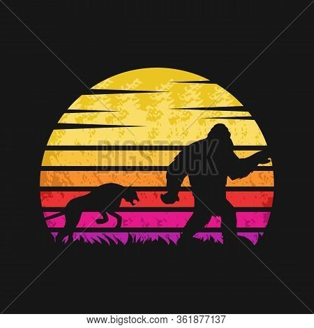 Yeti And Cheetah Sunset Retro Vector Illustration For Your Company Or Brand
